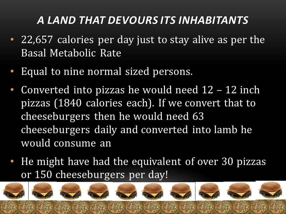 A LAND THAT DEVOURS ITS INHABITANTS 22,657 calories per day just to stay alive as per the Basal Metabolic Rate Equal to nine normal sized persons.