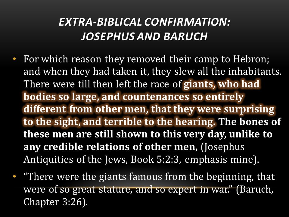 EXTRA-BIBLICAL CONFIRMATION: JOSEPHUS AND BARUCH