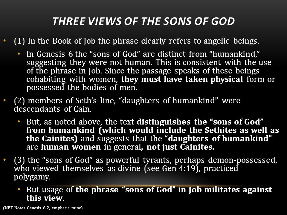 THREE VIEWS OF THE SONS OF GOD (1) In the Book of Job the phrase clearly refers to angelic beings.