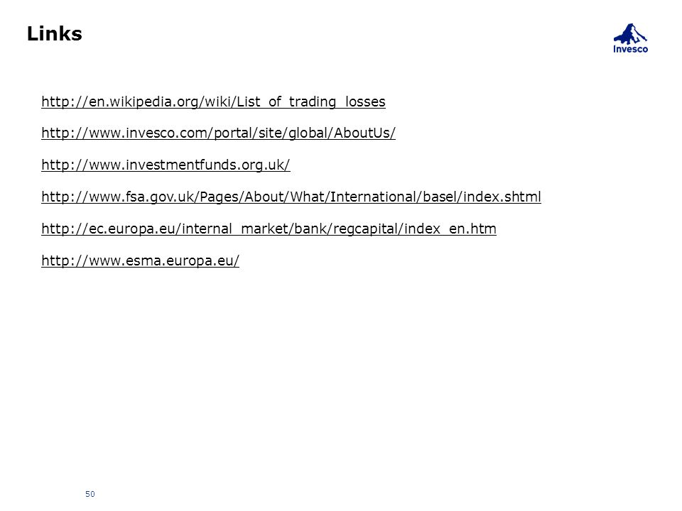 Links 50 http://en.wikipedia.org/wiki/List_of_trading_losses http://www.invesco.com/portal/site/global/AboutUs/ http://www.investmentfunds.org.uk/ htt