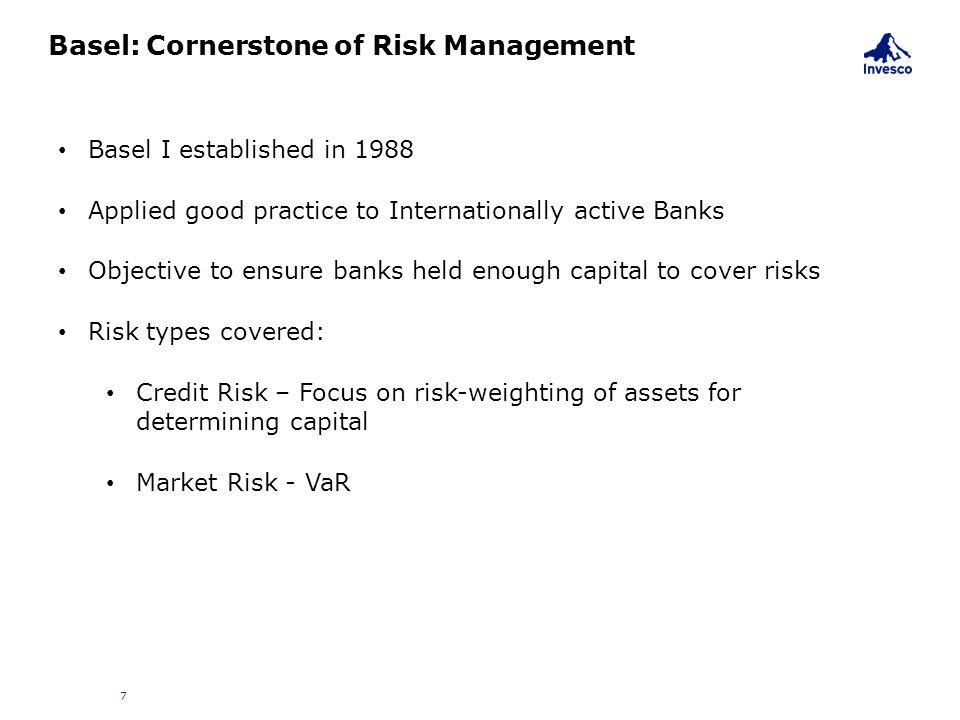 Basel: Cornerstone of Risk Management 7 Basel I established in 1988 Applied good practice to Internationally active Banks Objective to ensure banks he