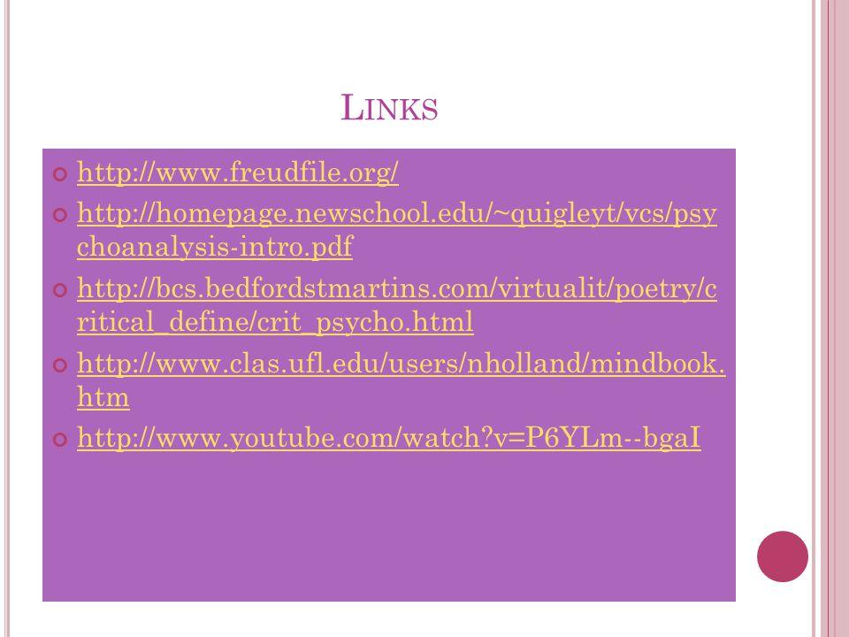 L INKS http://www.freudfile.org/ http://homepage.newschool.edu/~quigleyt/vcs/psy choanalysis-intro.pdf http://bcs.bedfordstmartins.com/virtualit/poetry/c ritical_define/crit_psycho.html http://www.clas.ufl.edu/users/nholland/mindbook.
