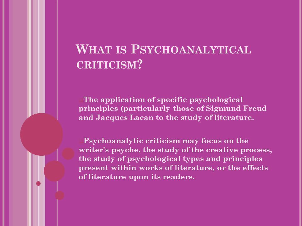 W HAT IS P SYCHOANALYTICAL CRITICISM .
