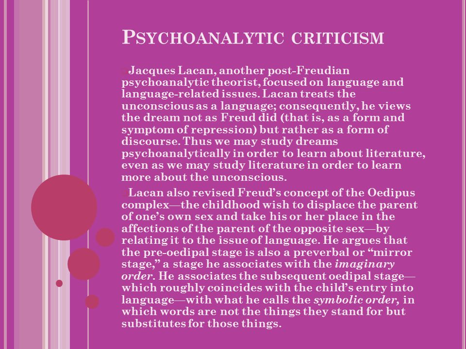 P SYCHOANALYTIC CRITICISM  Jacques Lacan, another post-Freudian psychoanalytic theorist, focused on language and language-related issues.