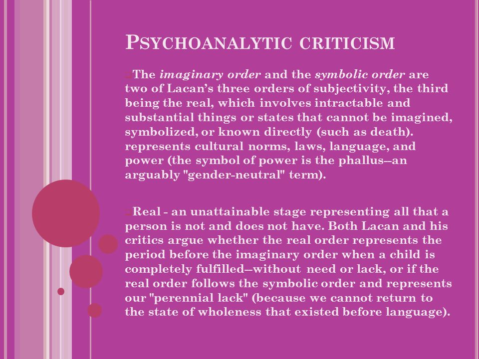 P SYCHOANALYTIC CRITICISM  The imaginary order and the symbolic order are two of Lacan's three orders of subjectivity, the third being the real, which involves intractable and substantial things or states that cannot be imagined, symbolized, or known directly (such as death).