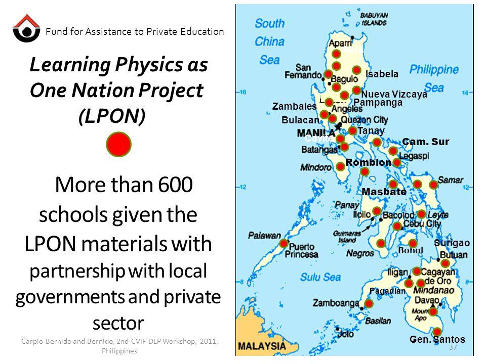 Learning Physics as One Nation Project (LPON) Bohol Isabela Zambales Nueva Vizcaya Pampanga Bulacan Tanay Cavite Gen.