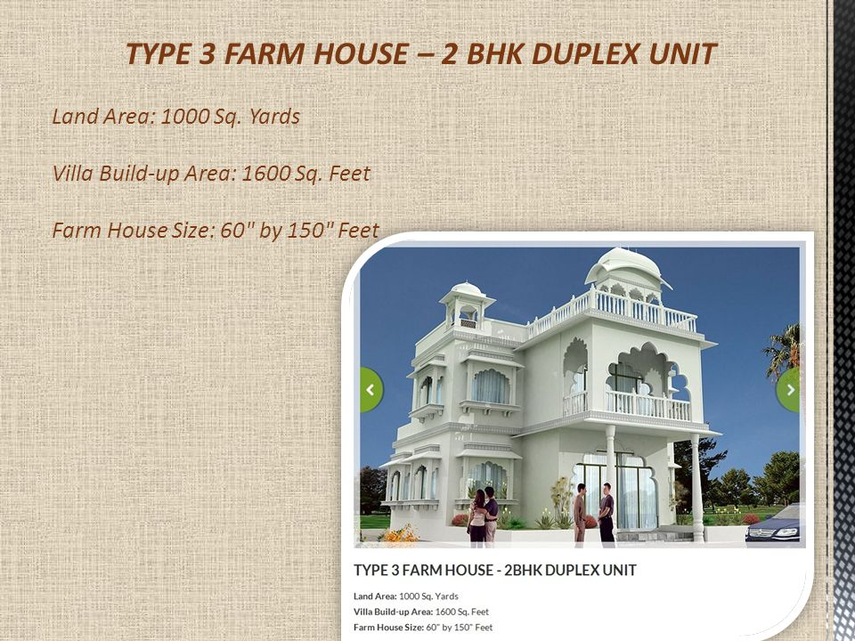 TYPE 3 FARM HOUSE – 2 BHK DUPLEX UNIT Land Area: 1000 Sq.