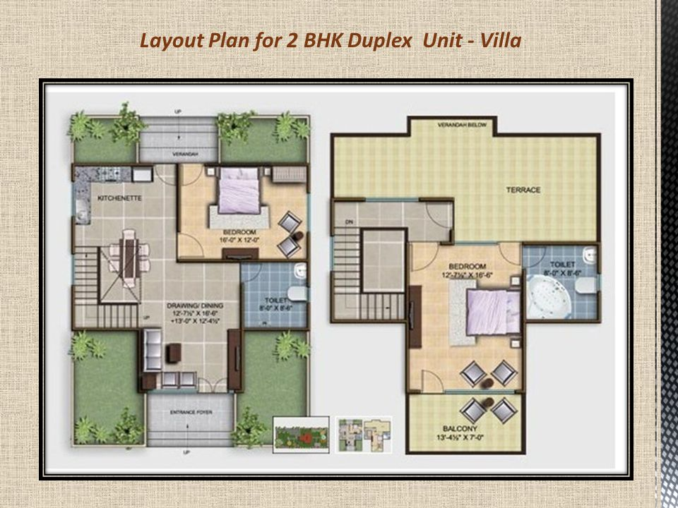 Layout Plan for 2 BHK Duplex Unit - Villa