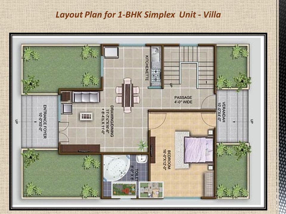 TYPE 2 FARM HOUSE – 2 BHK SIMPLEX UNIT Land Area: 1000 Sq.