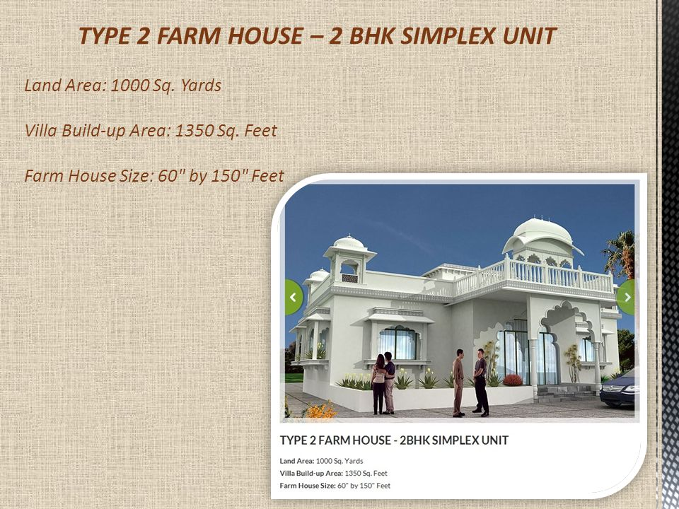 LUXURY SPECIFICATIONS FOR HOLIDAY FARMS VILLAS ParticularsSimplex 1 BHKSimplex 2 BHKDuplex 2 BHKDuplex 3 BHK Wall paint Yes Ceiling Fans 3 Units4 Units5 Units6 Units Dining Table 4 Seater6 Seater Double Bed 1 Unit2 Units 3 Units Dashing Chairs 4 Units 6 Units Exhaust Fans 2 Units3 Units 4 Units Geysers 2 Units3 Units 4 Units LCD 2 Units3 Units 4 Units Modular Kitchen Yes Refrigerator Yes Split A/C 2 Units3 Units 4 Units Stylish Sofa 6 Seater 8 Seater Jacuzzi 1 Unit Wooden Wardrobes 1 Unit2 Units 3 Units