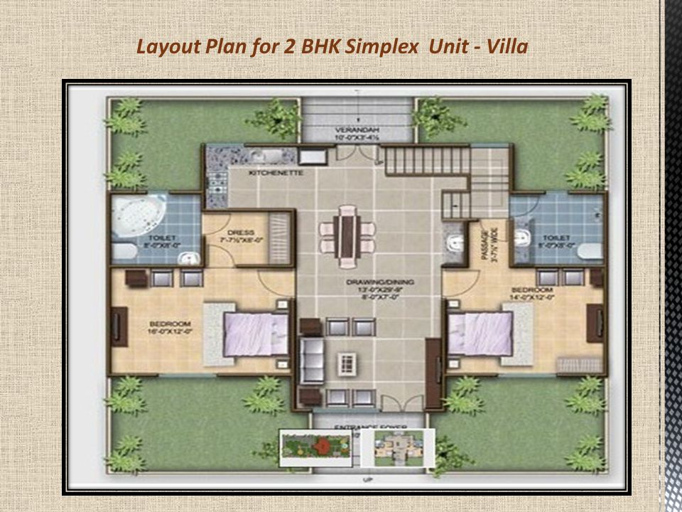 Layout Plan for 2 BHK Simplex Unit - Villa