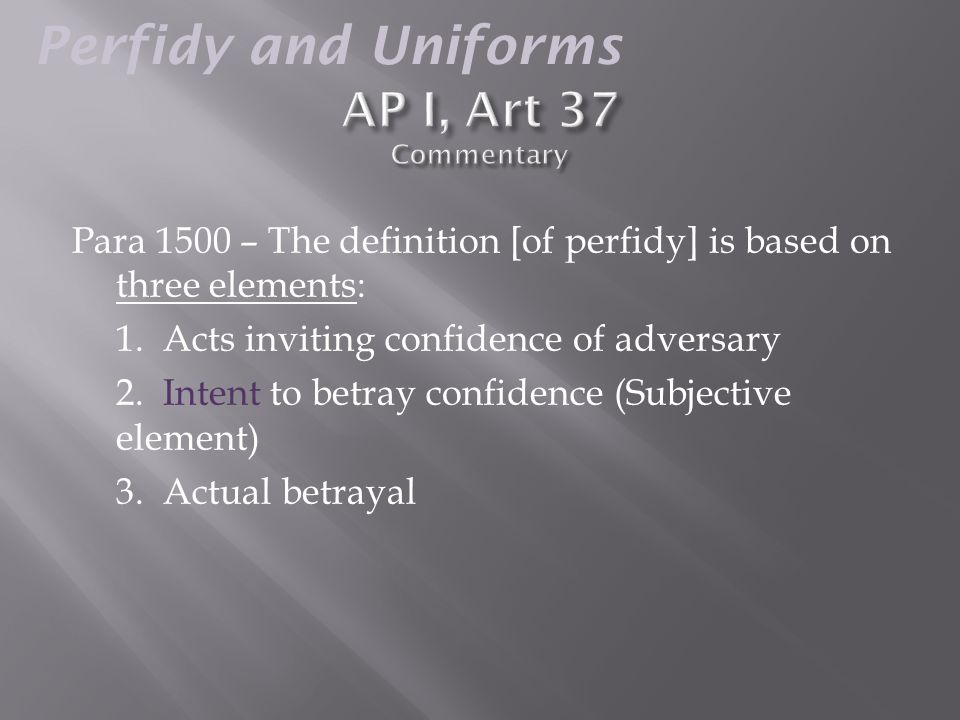  Three possible outcomes (based on the clothing choices of combatants):  1) Perfidy  2) Forfeit POW Status / Protections  Can be tried as a spy or saboteur under domestic law of the capturing state  3) Retain POW Status Perfidy and Uniforms