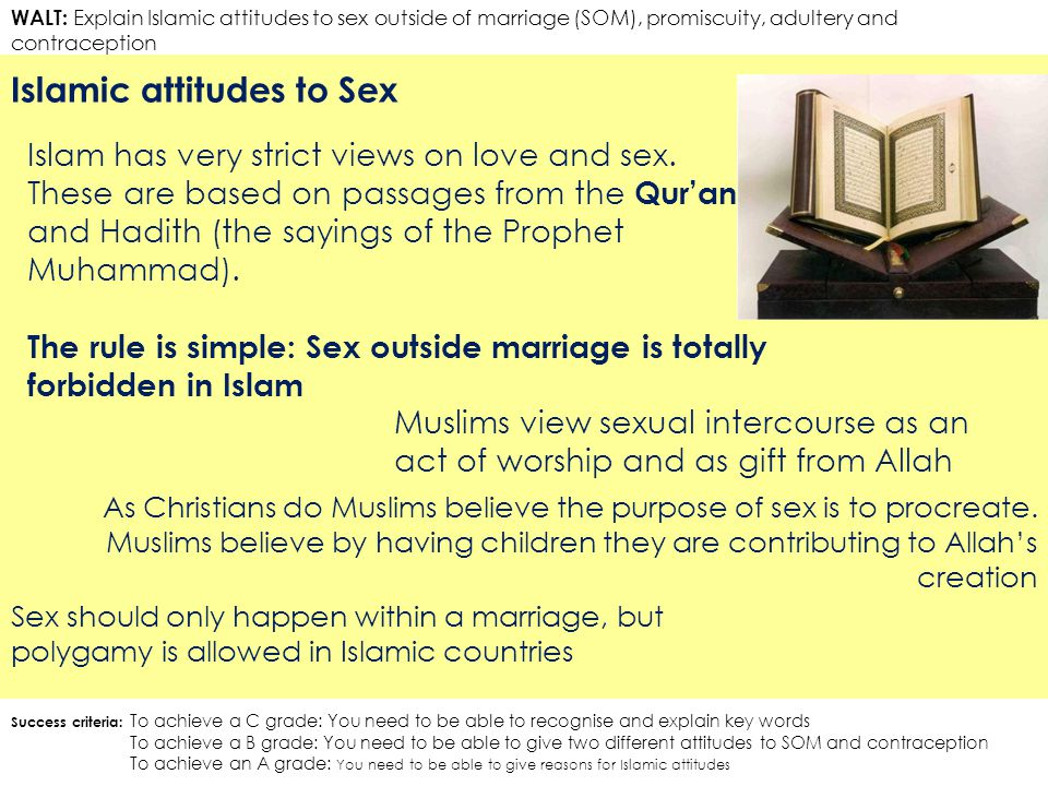 WALT: Explain Islamic attitudes to sex outside of marriage (SOM), promiscuity, adultery and contraception Islamic attitudes to Sex Success criteria: To achieve a C grade: You need to be able to recognise and explain key words To achieve a B grade: You need to be able to give two different attitudes to SOM and contraception To achieve an A grade: You need to be able to give reasons for Islamic attitudes Islam has very strict views on love and sex.