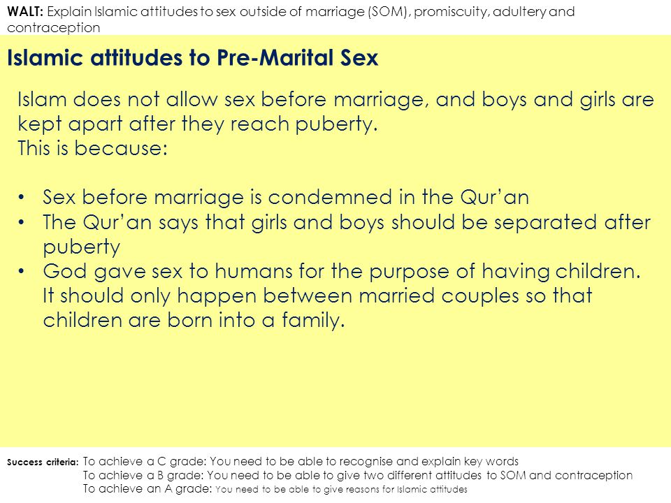 WALT: Explain Islamic attitudes to sex outside of marriage (SOM), promiscuity, adultery and contraception Islamic attitudes to Pre-Marital Sex Success criteria: To achieve a C grade: You need to be able to recognise and explain key words To achieve a B grade: You need to be able to give two different attitudes to SOM and contraception To achieve an A grade: You need to be able to give reasons for Islamic attitudes Islam does not allow sex before marriage, and boys and girls are kept apart after they reach puberty.