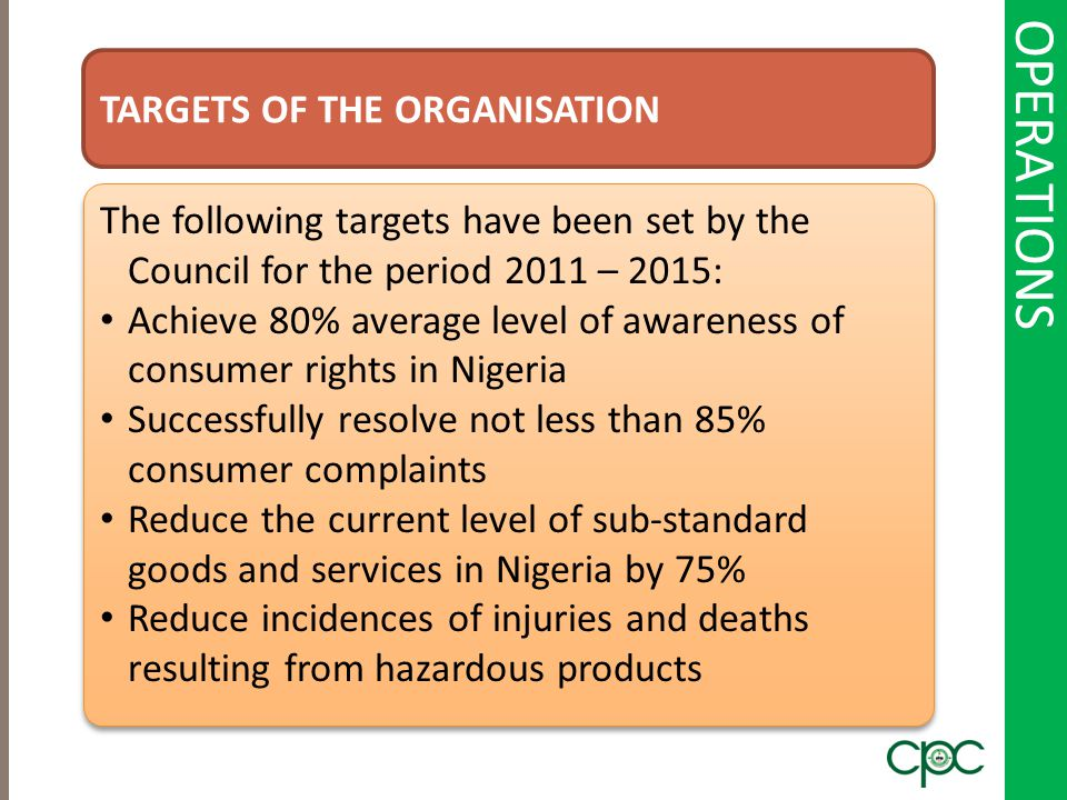 OPERATIONS TARGETS OF THE ORGANISATION The following targets have been set by the Council for the period 2011 – 2015: Achieve 80% average level of awa