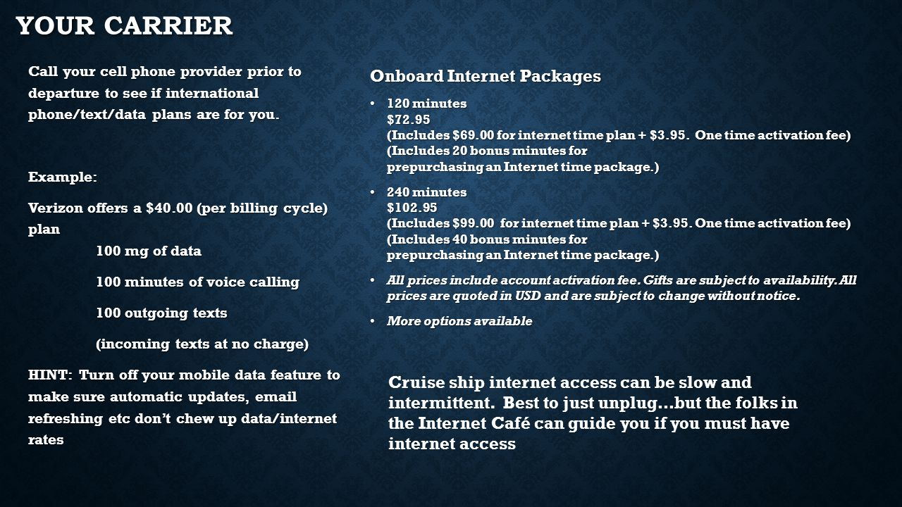 YOUR CARRIER Onboard Internet Packages 120 minutes $72.95 (Includes $69.00 for internet time plan + $3.95.