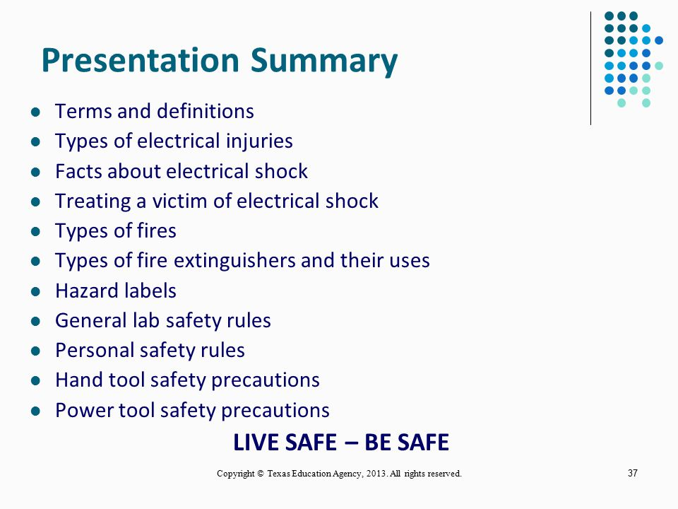 36 Power Tool Safety Precautions (continued) Wear safety goggles or glasses when operating power tools. Note- Flying chips can cause permanent damage