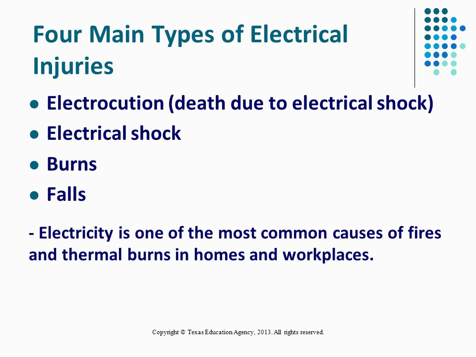 Four Main Types of Electrical Injuries Electrocution (death due to electrical shock) Electrical shock Burns Falls - Electricity is one of the most common causes of fires and thermal burns in homes and workplaces.
