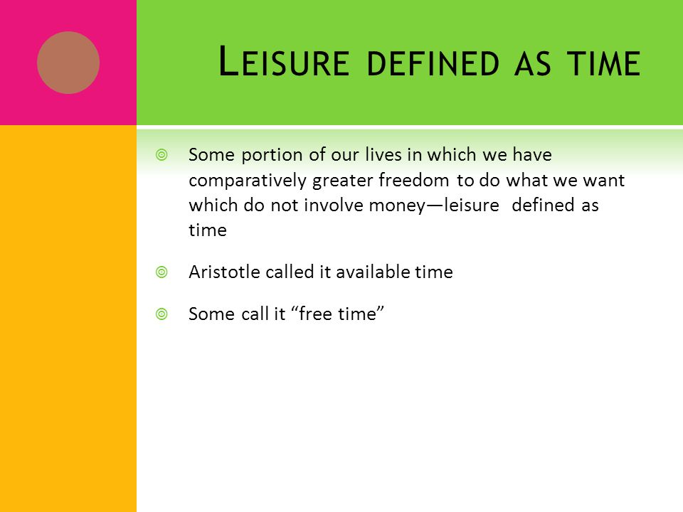 L EISURE DEFINED AS TIME - QUESTIONS ?.