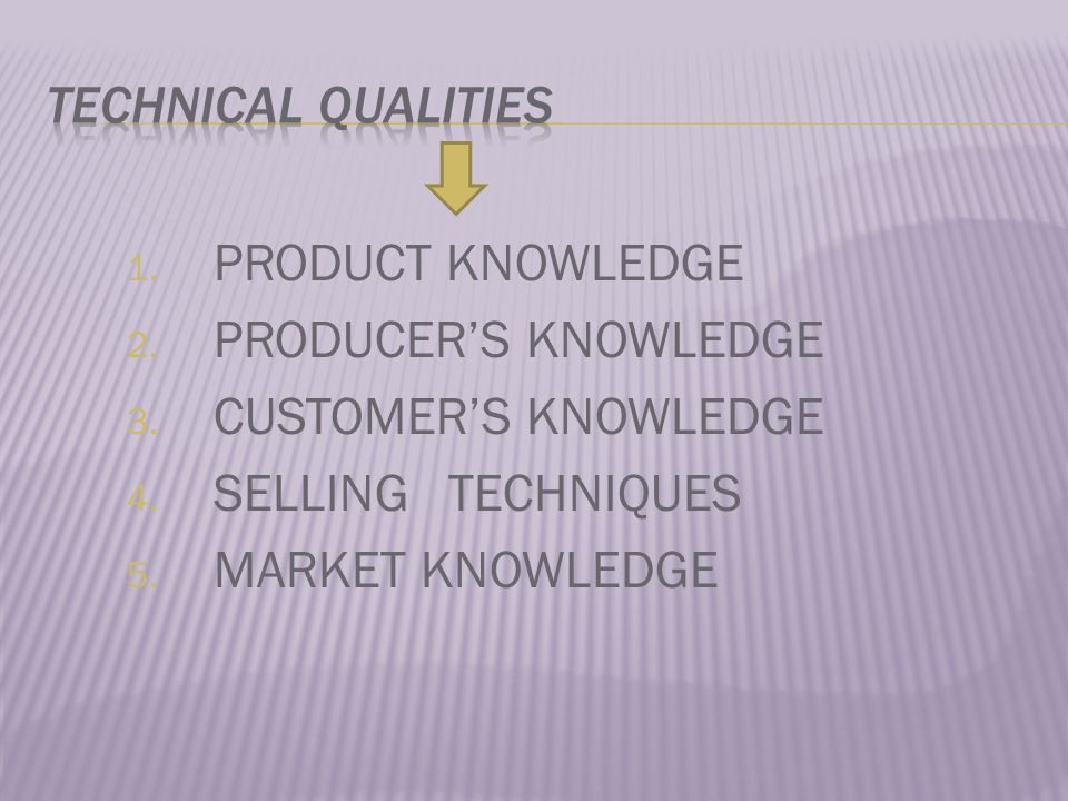 1.PRODUCT KNOWLEDGE 2. PRODUCER'S KNOWLEDGE 3. CUSTOMER'S KNOWLEDGE 4.