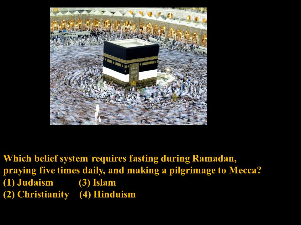 Which belief system requires fasting during Ramadan, praying five times daily, and making a pilgrimage to Mecca.