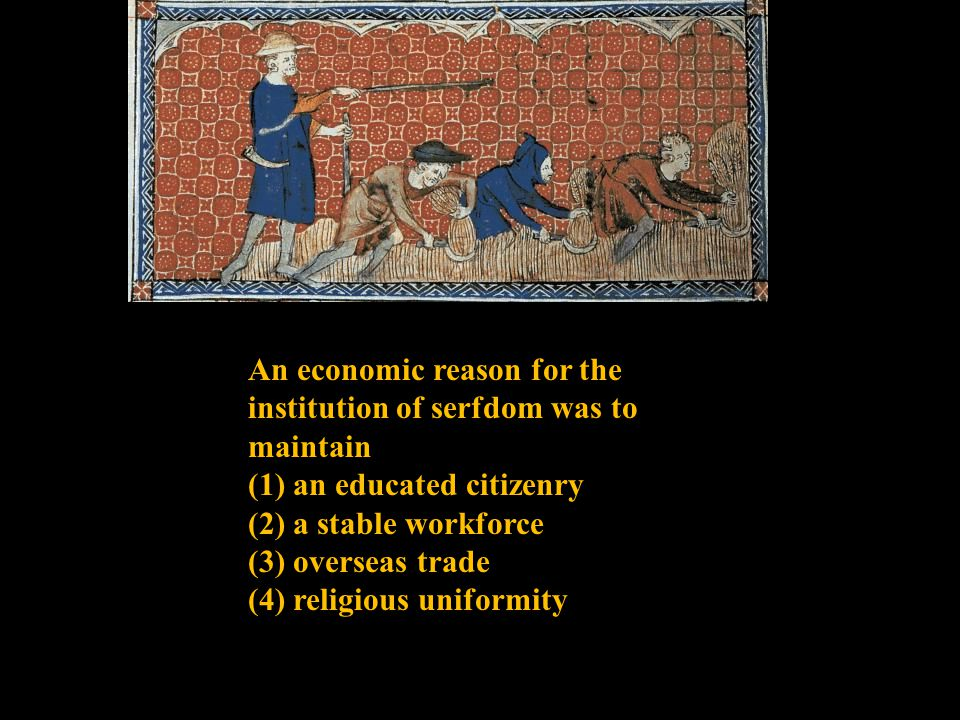 An economic reason for the institution of serfdom was to maintain (1) an educated citizenry (2) a stable workforce (3) overseas trade (4) religious uniformity