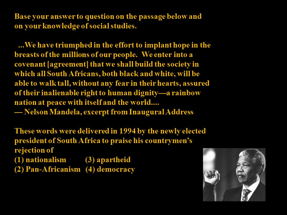 Base your answer to question on the passage below and on your knowledge of social studies....We have triumphed in the effort to implant hope in the br