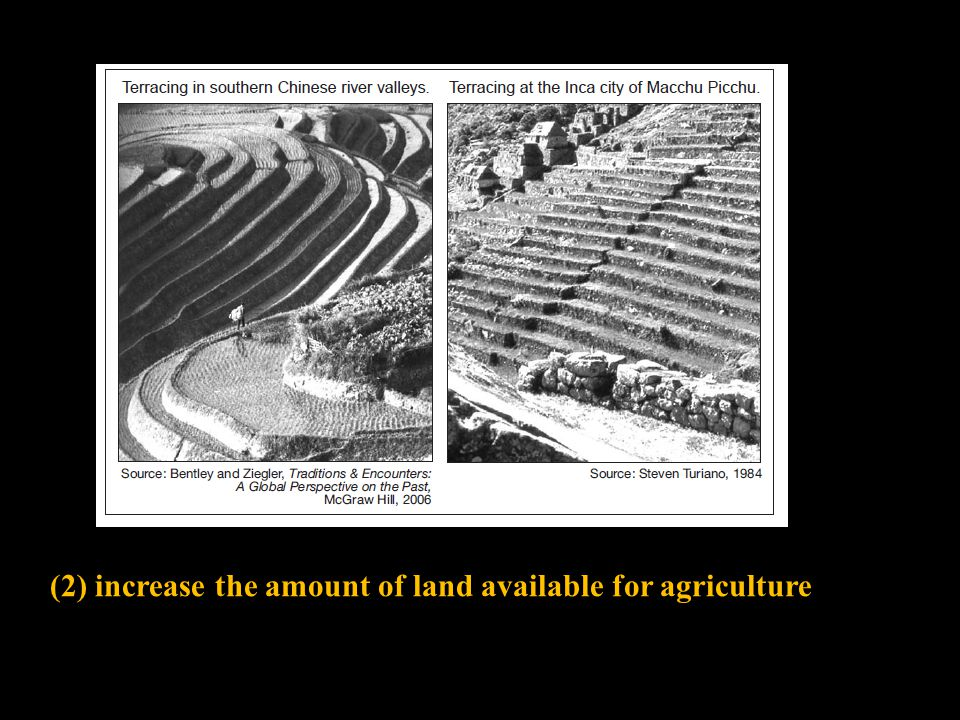 (2) increase the amount of land available for agriculture