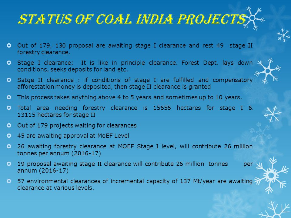 Status of Coal India Projects  Out of 179, 130 proposal are awaiting stage I clearance and rest 49 stage II forestry clearance.  Stage I clearance: