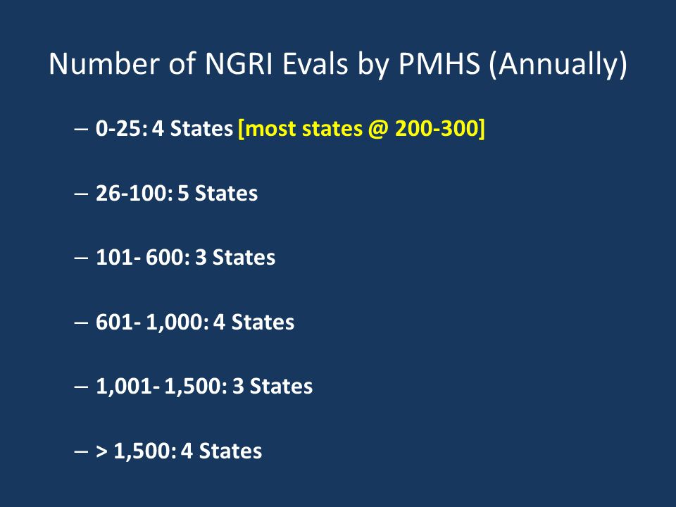 Number of NGRI Evals by PMHS (Annually) – 0-25: 4 States [most states @ 200-300] – 26-100: 5 States – 101- 600: 3 States – 601- 1,000: 4 States – 1,001- 1,500: 3 States – > 1,500: 4 States