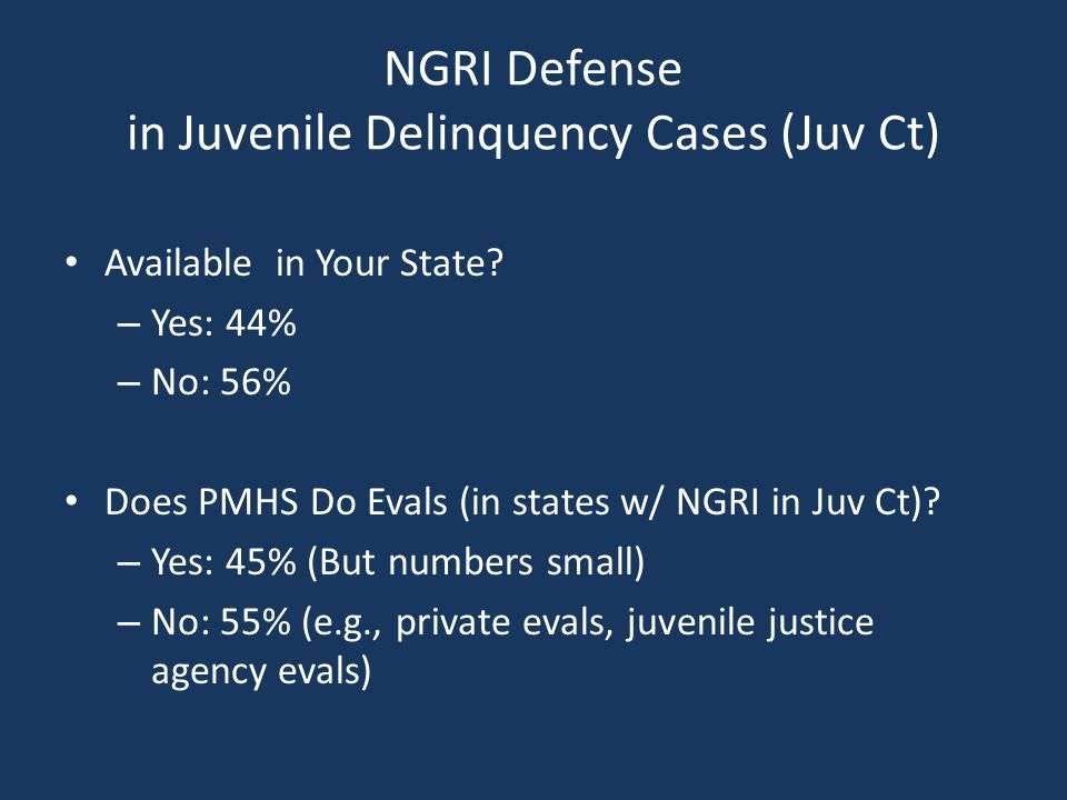 NGRI Defense in Juvenile Delinquency Cases (Juv Ct) Available in Your State.
