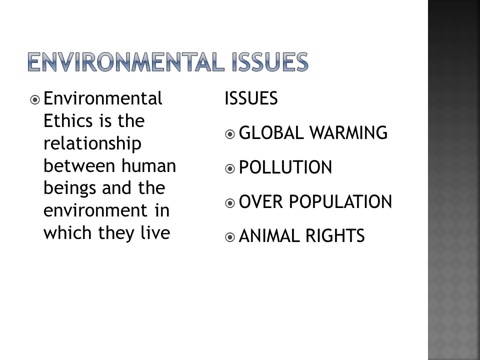  Environmental Ethics is the relationship between human beings and the environment in which they live ISSUES  GLOBAL WARMING  POLLUTION  OVER POPULATION  ANIMAL RIGHTS