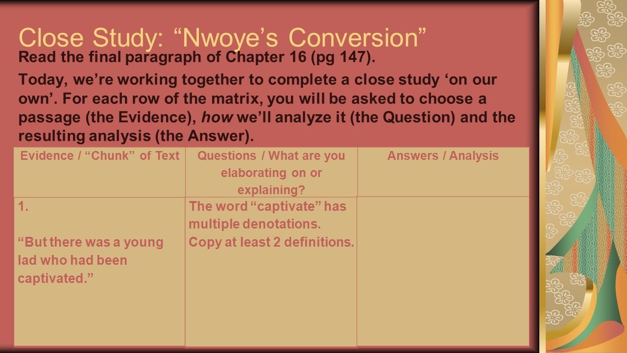 """Close Study: """"Nwoye's Conversion"""" Read the final paragraph of Chapter 16 (pg 147). Today, we're working together to complete a close study 'on our own"""