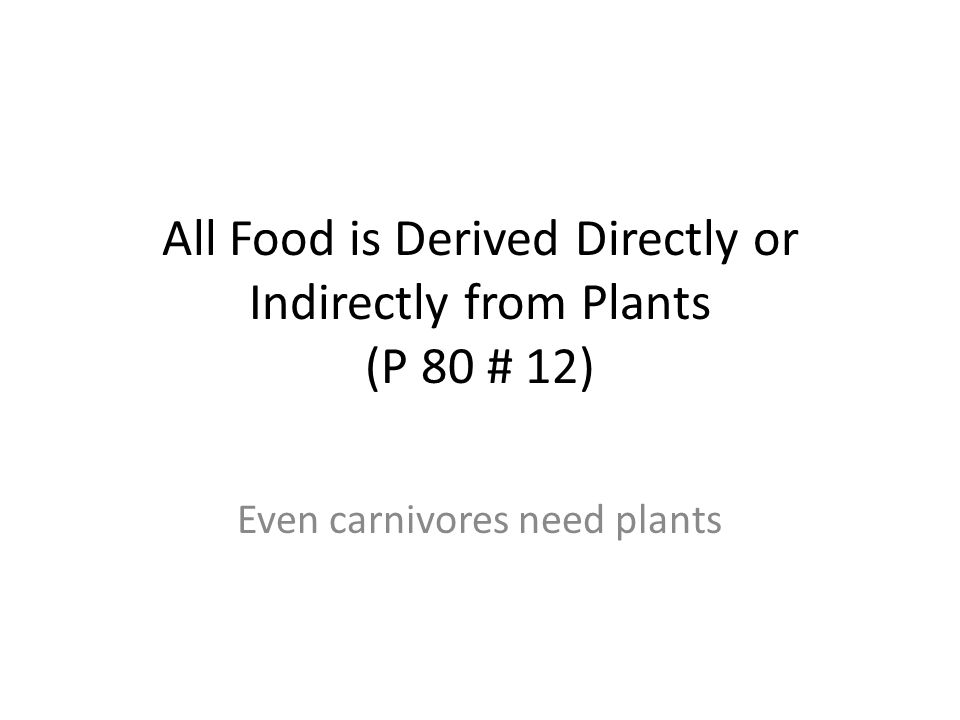 All Food is Derived Directly or Indirectly from Plants (P 80 # 12) Even carnivores need plants