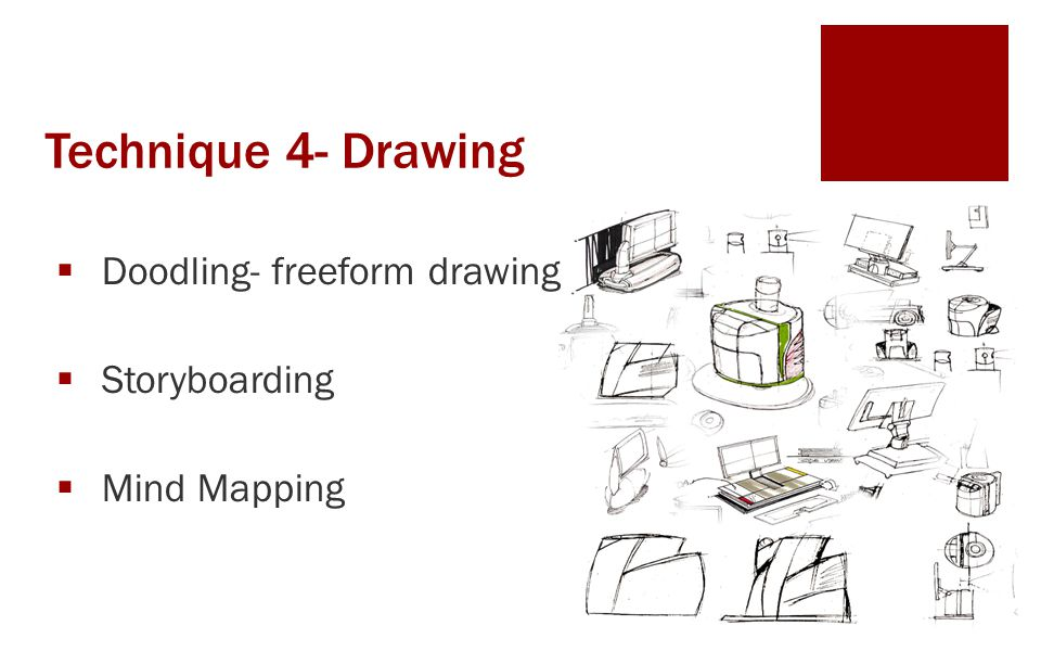 Technique 4- Drawing  Doodling- freeform drawing  Storyboarding  Mind Mapping