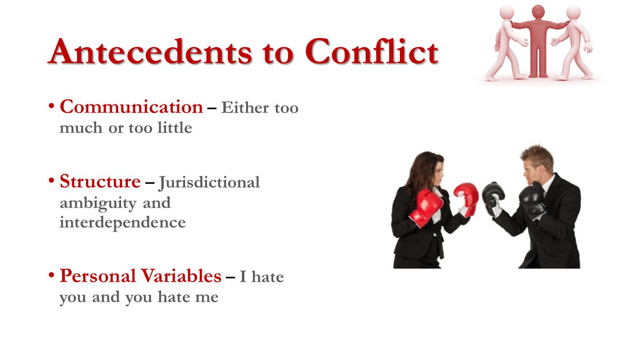 Types of Conflict Task Conflict – Is related to goals and the actual work that gets done Process Conflict – This is related to how the work gets done Relationship Conflict – This is related to interpersonal relationship breakdowns
