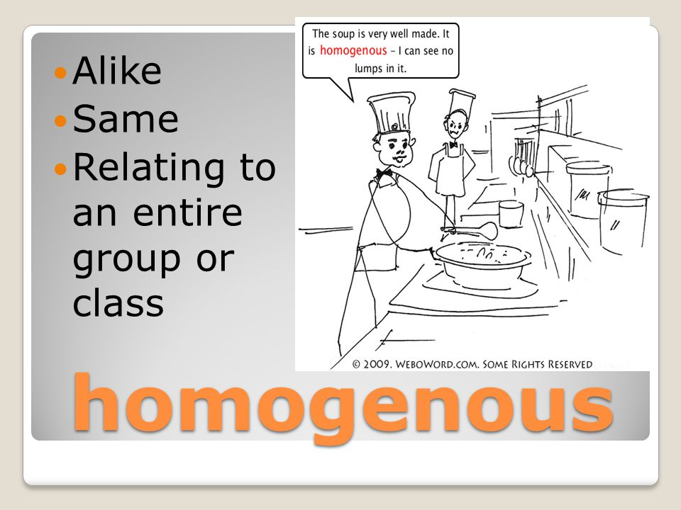 homogenous Alike Same Relating to an entire group or class