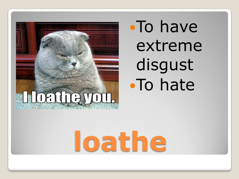 loathe To have extreme disgust To hate