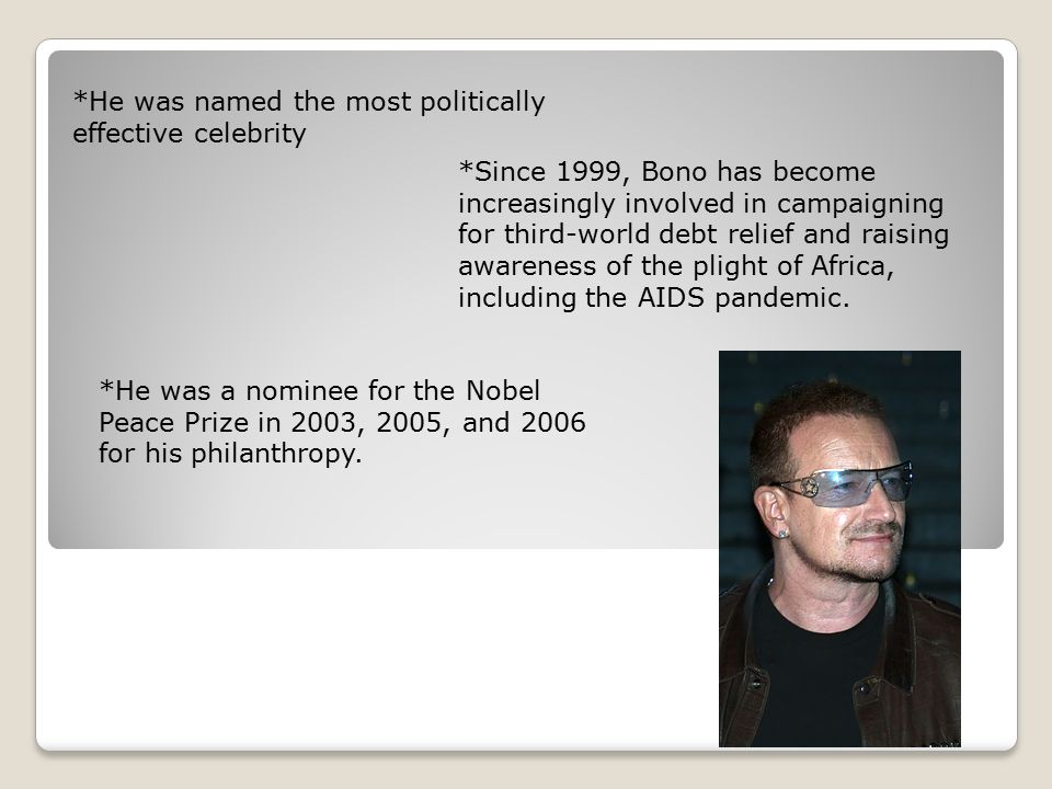 *He was named the most politically effective celebrity *Since 1999, Bono has become increasingly involved in campaigning for third-world debt relief a