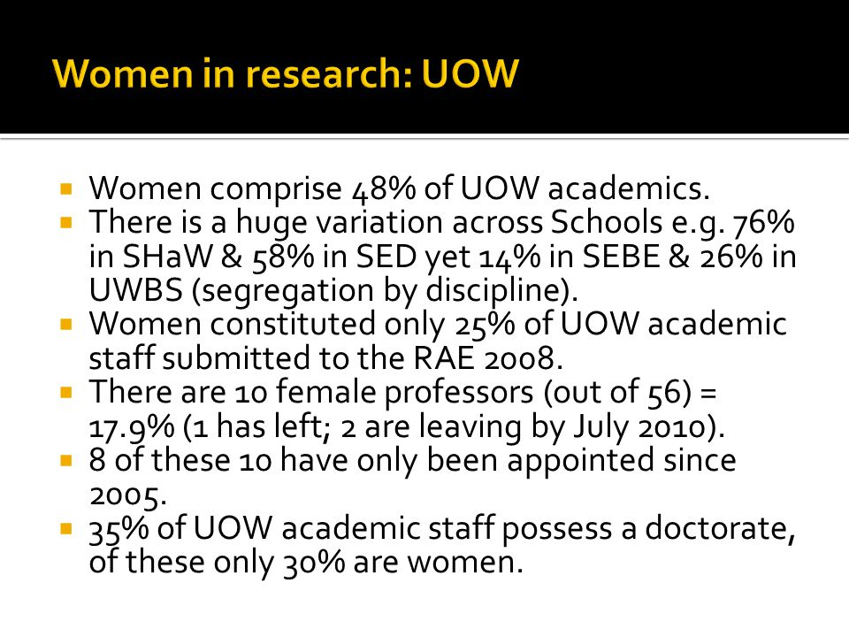 1.To increase the proportion of women in the 'research-active' group of staff 2.