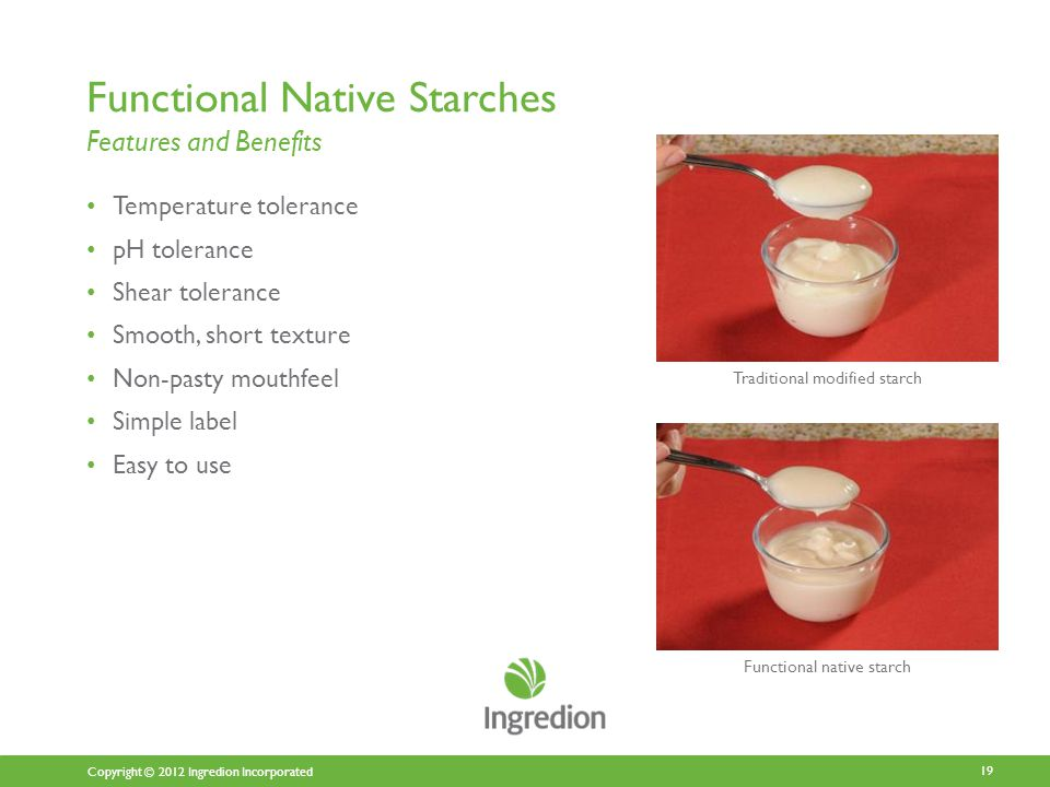Copyright © 2012 Ingredion Incorporated Functional Native Starches Features and Benefits Temperature tolerance pH tolerance Shear tolerance Smooth, short texture Non-pasty mouthfeel Simple label Easy to use 19 Traditional modified starch Functional native starch