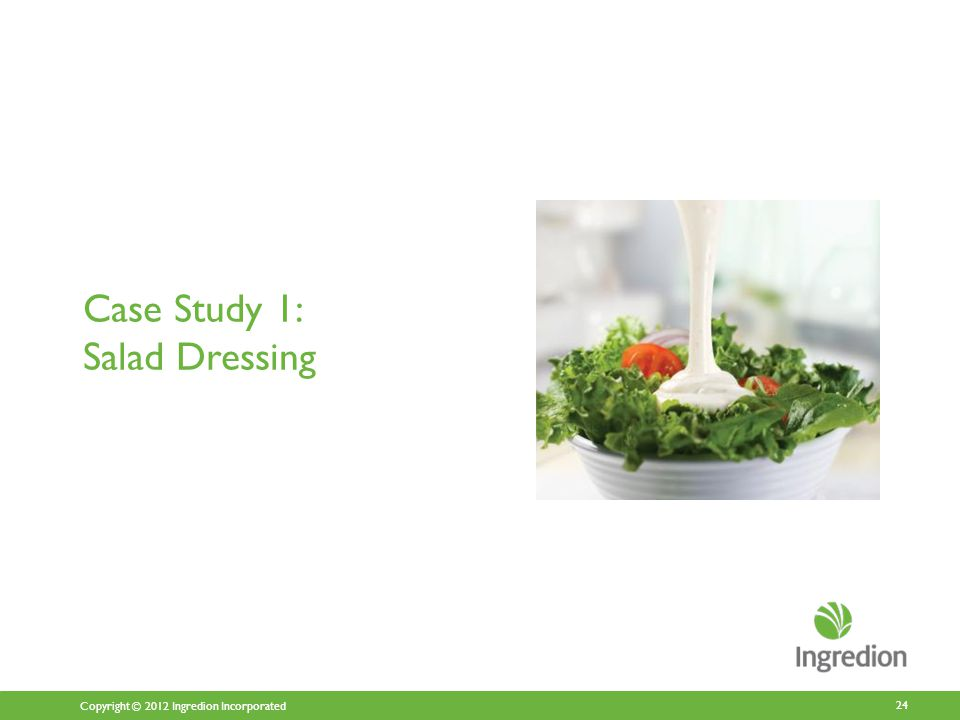 Copyright © 2012 Ingredion Incorporated Case Study 1: Salad Dressing 24