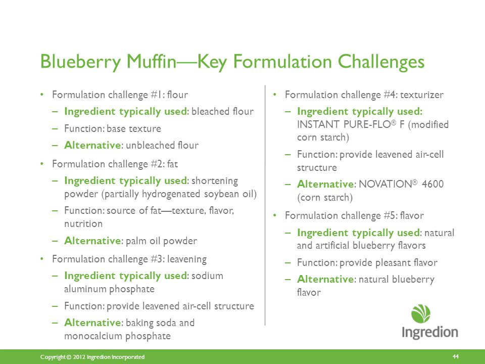 Copyright © 2012 Ingredion Incorporated Blueberry Muffin—Key Formulation Challenges Formulation challenge #1: flour – Ingredient typically used: bleached flour – Function: base texture – Alternative: unbleached flour Formulation challenge #2: fat – Ingredient typically used: shortening powder (partially hydrogenated soybean oil) – Function: source of fat—texture, flavor, nutrition – Alternative: palm oil powder Formulation challenge #3: leavening – Ingredient typically used: sodium aluminum phosphate – Function: provide leavened air-cell structure – Alternative: baking soda and monocalcium phosphate Formulation challenge #4: texturizer – Ingredient typically used: INSTANT PURE-FLO ® F (modified corn starch) – Function: provide leavened air-cell structure – Alternative: NOVATION ® 4600 (corn starch) Formulation challenge #5: flavor – Ingredient typically used: natural and artificial blueberry flavors – Function: provide pleasant flavor – Alternative: natural blueberry flavor 44