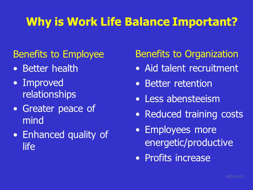 MCDA.42012 Why is Work Life Balance Important.