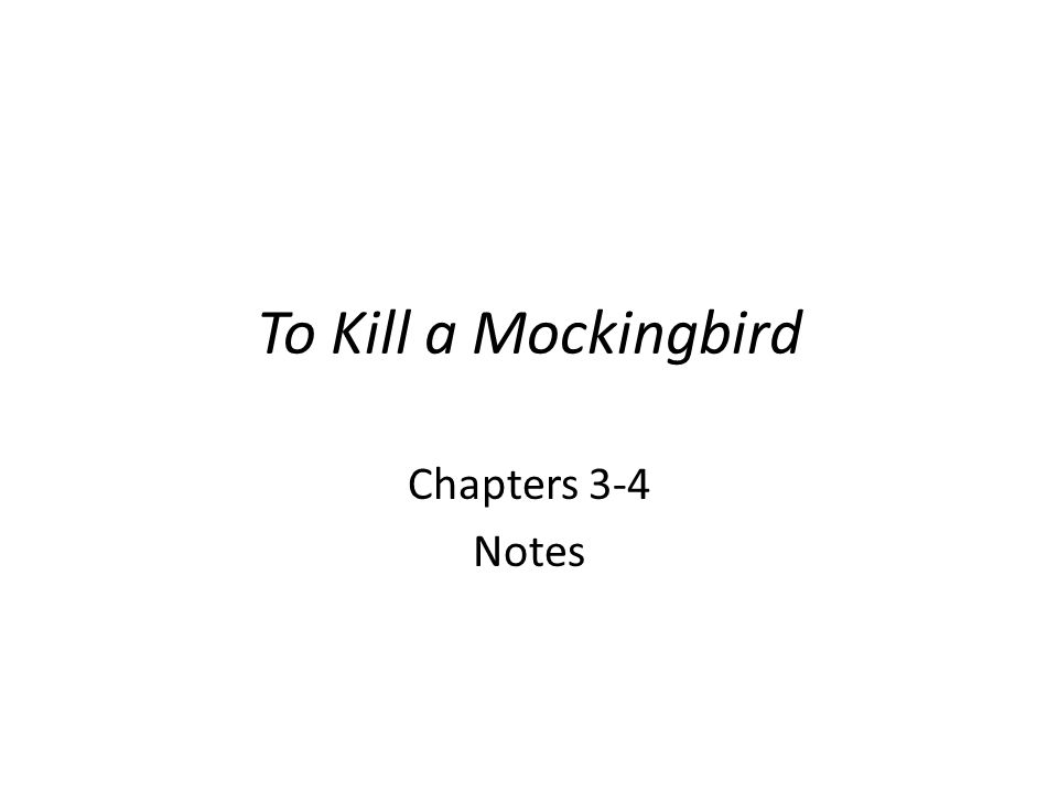 To Kill a Mockingbird Chapters 3-4 Notes