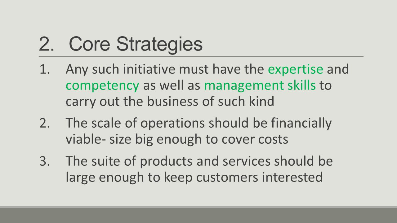 2.Core Strategies 1.Any such initiative must have the expertise and competency as well as management skills to carry out the business of such kind 2.T