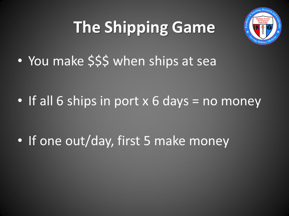 The Shipping Game You make $$$ when ships at sea If all 6 ships in port x 6 days = no money If one out/day, first 5 make money
