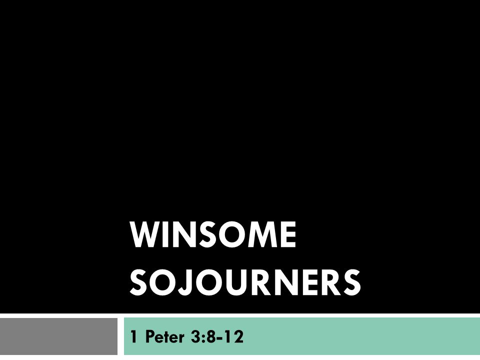 Winsome Sojourners  1 Peter 2:9-10 (The Message) 9-10 But you are the ones chosen by God, chosen for the high calling of priestly work, chosen to be a holy people, God's instruments to do his work and speak out for him, to tell others of the night- and-day difference he made for you—from nothing to something, from rejected to accepted.