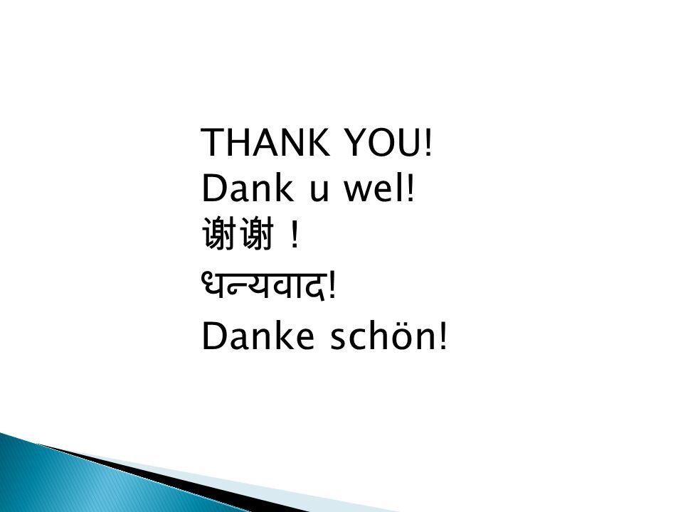 THANK YOU! Dank u wel! 谢谢! धन्यवाद ! Danke schön!