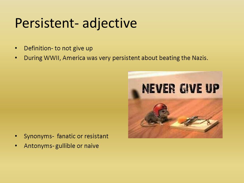 Persistent- adjective Definition- to not give up During WWII, America was very persistent about beating the Nazis. Synonyms- fanatic or resistant Anto